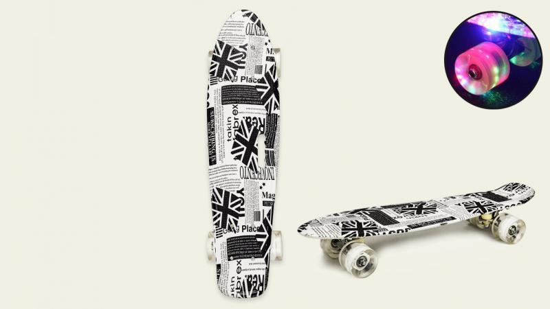 "Скейт пенни борд 22 ""SC20430 56х15 см, принт,  колеса PU, свет"