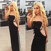 Оригинальное черное платье с бежевыми вставками
