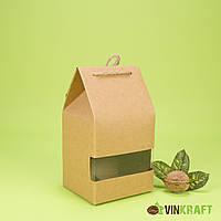 Коробка 95*85*185 для сухофруктів і горіхів з вікном, крафт