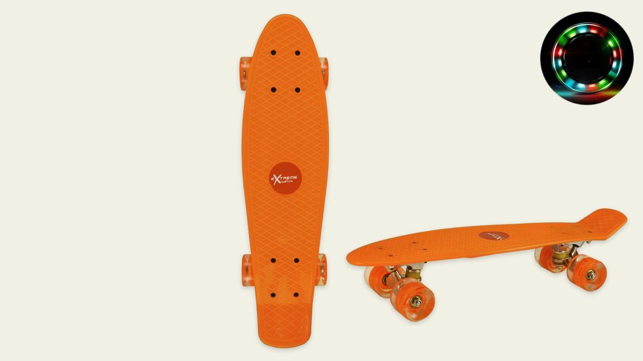 Скейт пенни борд SC20427 56х15 см, колеса PU, свет, оранжевый