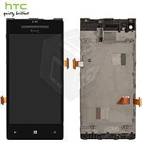 Дисплей + touchscreen (сенсор) для HTC C620e Windows Phone 8X, с передней панелью, черный, оригинал