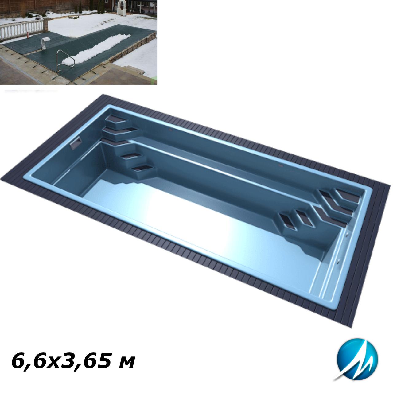 Зимовий накриття для скловолоконного басейну 6,6х3,65 м
