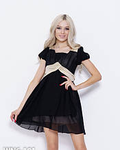 Коктейльне чорне легке плаття з напівпрозорого шифону з бежевими вставками S