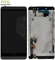 Дисплейный модуль (дисплей + сенсор) для HTC One Max 803n, с передней панелью, черный, оригинал