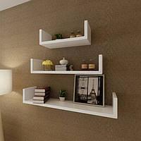 Комплект навесных настенных полок (3шт). Полки навесные дизайнерские полочки набор
