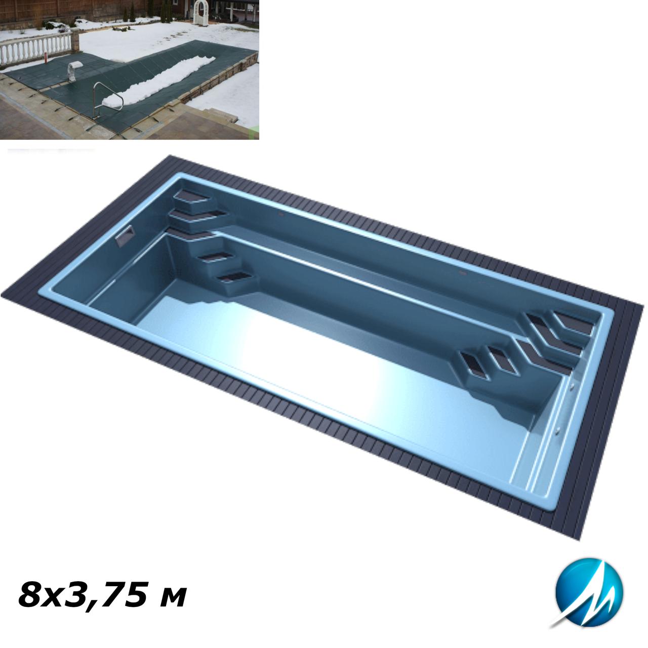 Зимнее накрытие для стекловолоконного бассейна 8х3,75 м