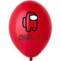 "Латексна кулька 12"" червона з  малюнком ""Among us"" (BelBal)"