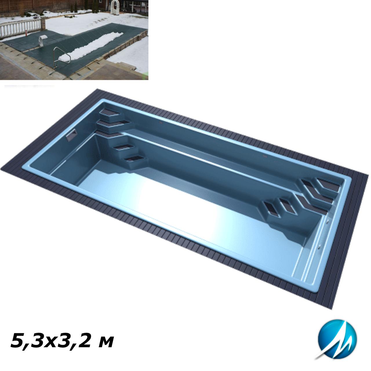 Зимовий накриття для скловолоконного басейну 5,3х3,2 м
