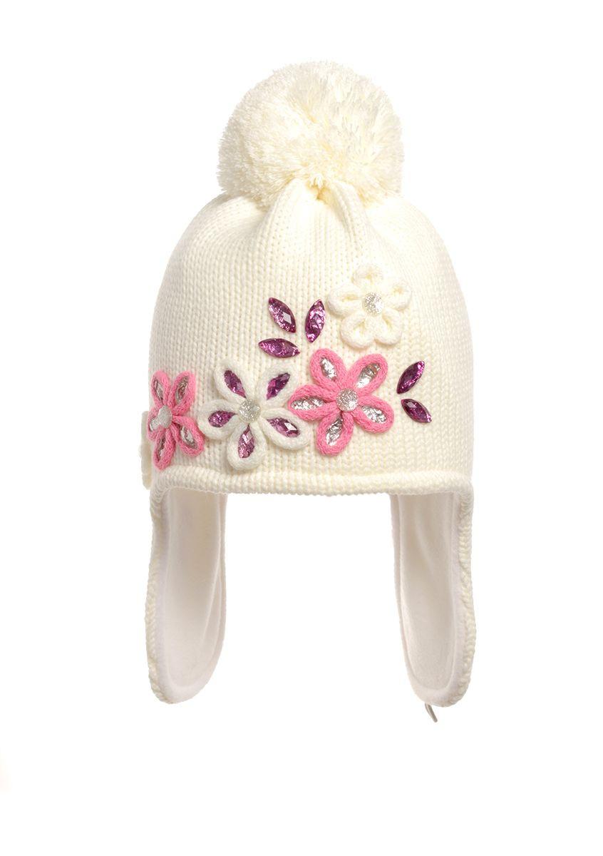 Красивая зимняя теплая детская шапочка  со стразами.