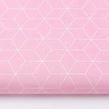 """Лоскут ткани хлопковая """"Контуры ромбов"""" белые на розовом (№3038а), размер 35*80 см, фото 2"""