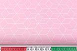 """Лоскут ткани хлопковая """"Контуры ромбов"""" белые на розовом (№3038а), размер 35*80 см, фото 3"""