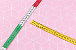 """Лоскут ткани хлопковая """"Контуры ромбов"""" белые на розовом (№3038а), размер 35*80 см, фото 6"""
