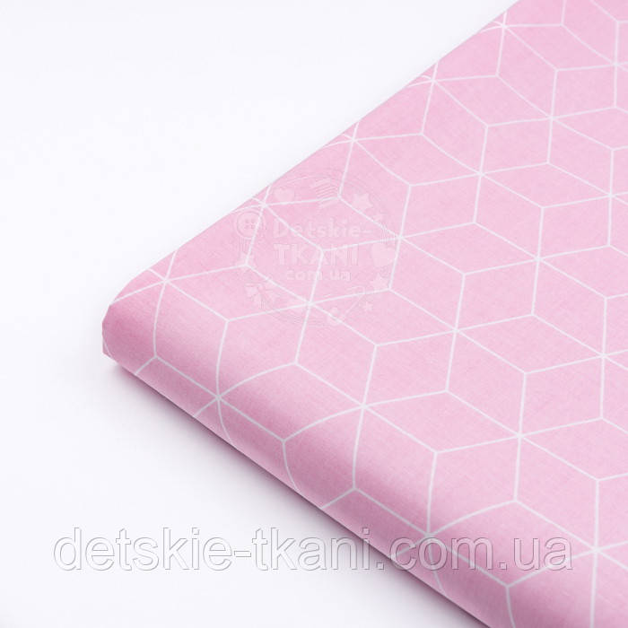 """Лоскут ткани хлопковая """"Контуры ромбов"""" белые на розовом (№3038а), размер 35*80 см"""