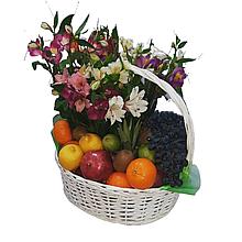 Кошик-букет з фруктами і квітами Харків доставка магазин