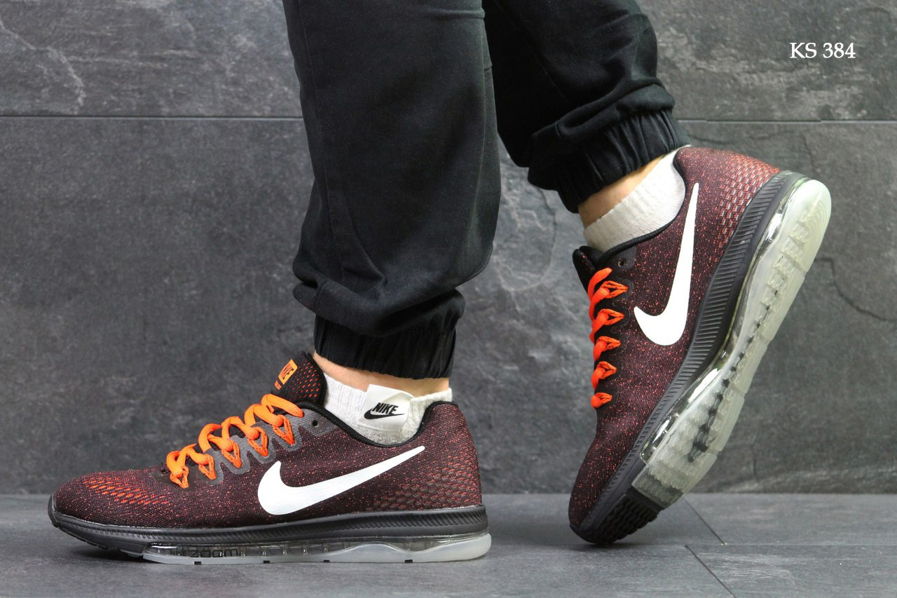 Мужские кроссовки Nike Zoom All Out (бордово-оранжевые)