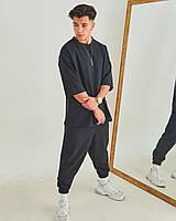 Спортивный костюм мужской Футболка + Штаны ОВЕРСАЙЗ черный | Комплект мужской летний повседневный