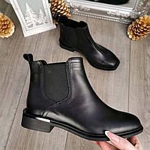 Ботинки челси женские кожаные с квадратным носком. Цвет черный