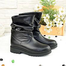 Ботинки кожаные женские на низком ходу, цвет черный