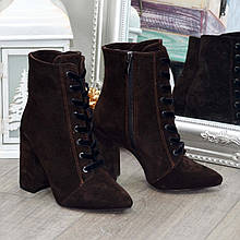 Ботинки замшевые женские на высоком каблуке. Цвет коричневый