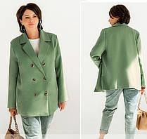 Оливковый женский двубортный пиджак большого размера 50-52 54-56 58-60 62-64