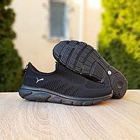 Летние чёрные кроссовки Puma, текстиль сетка, фото 1