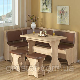 Кухонный уголок Граф с раскладным столом и двумя табуретами