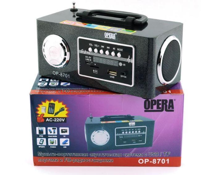 Универсальная колонка Opera OP-8701 с AUX USB microSD