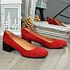 Туфли женские замшевые на невысоком каблуке. Цвет красный, фото 2