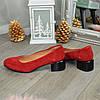 Туфли женские замшевые на невысоком каблуке. Цвет красный, фото 3