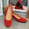 Туфли женские замшевые на невысоком каблуке. Цвет красный, фото 4