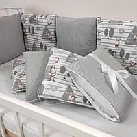 Бортики Подушечки в дитяче ліжко(12шт. на 4сторони) змінні наволочки (защита в кроватку)сірі зайці