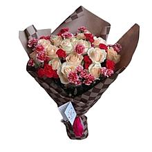 Букет квітів троянди 19 шт+гвоздика 20 шт Харків доставка магазин