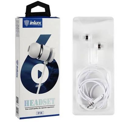 Наушники INKAX EP-06 проводные вакуумные для смартфона Белый
