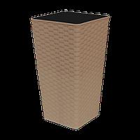 Вазон пластиковый Алеана Ротанг 22*22*41,5 квадратный 7 л какао с вкладом
