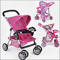 Коляска трость для кукол и пупсов со столиком с поворотными колесами складная, игрушечная прогулочная коляска