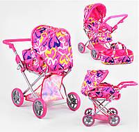 Коляска-трансформер для кукол и пупсов 3 в 1 с люлькой зимняя и летняя, игрушечная коляска с багажником