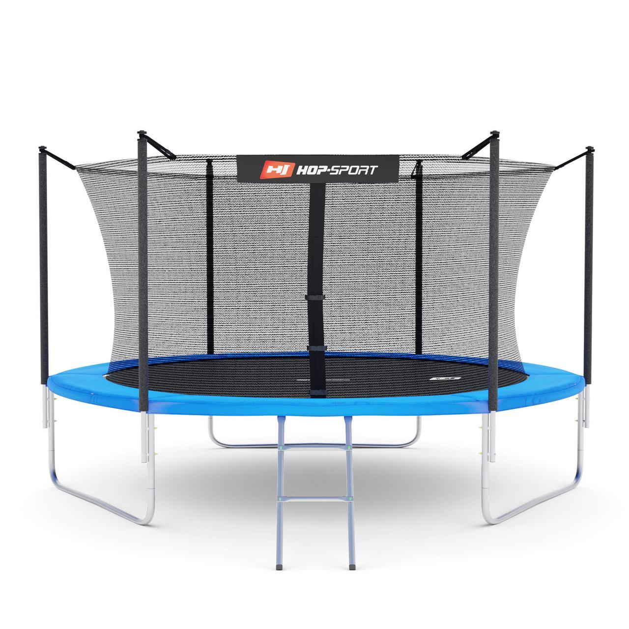 Батут Hop-Sport с нагрузкой до 150 кг 10ft (305cm) с внутренней сеткой, синий + Подарки