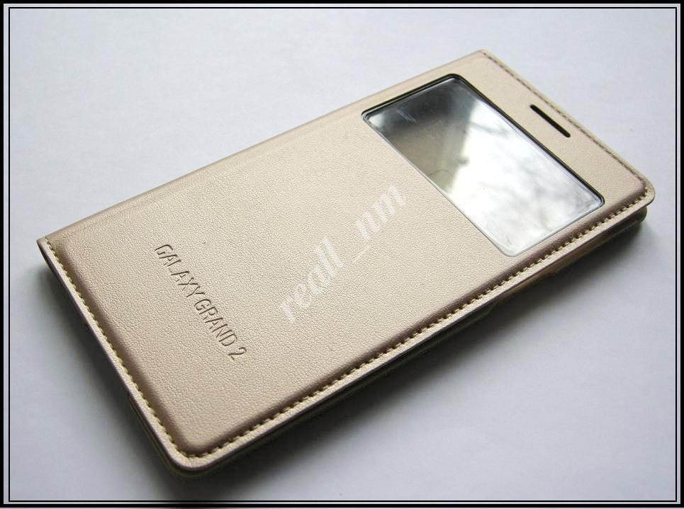Золотистый чехол Smart Cover (S view cover) #2 для смартфона Samsung Galaxy Grand 2 G7102