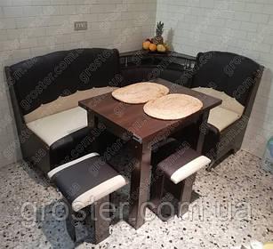 Кухонный уголок Магнат, раскладной стол и 2 табурета
