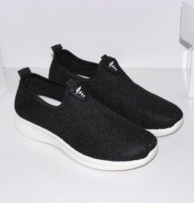 Текстильные кроссовки без шнурков черного цвета женские