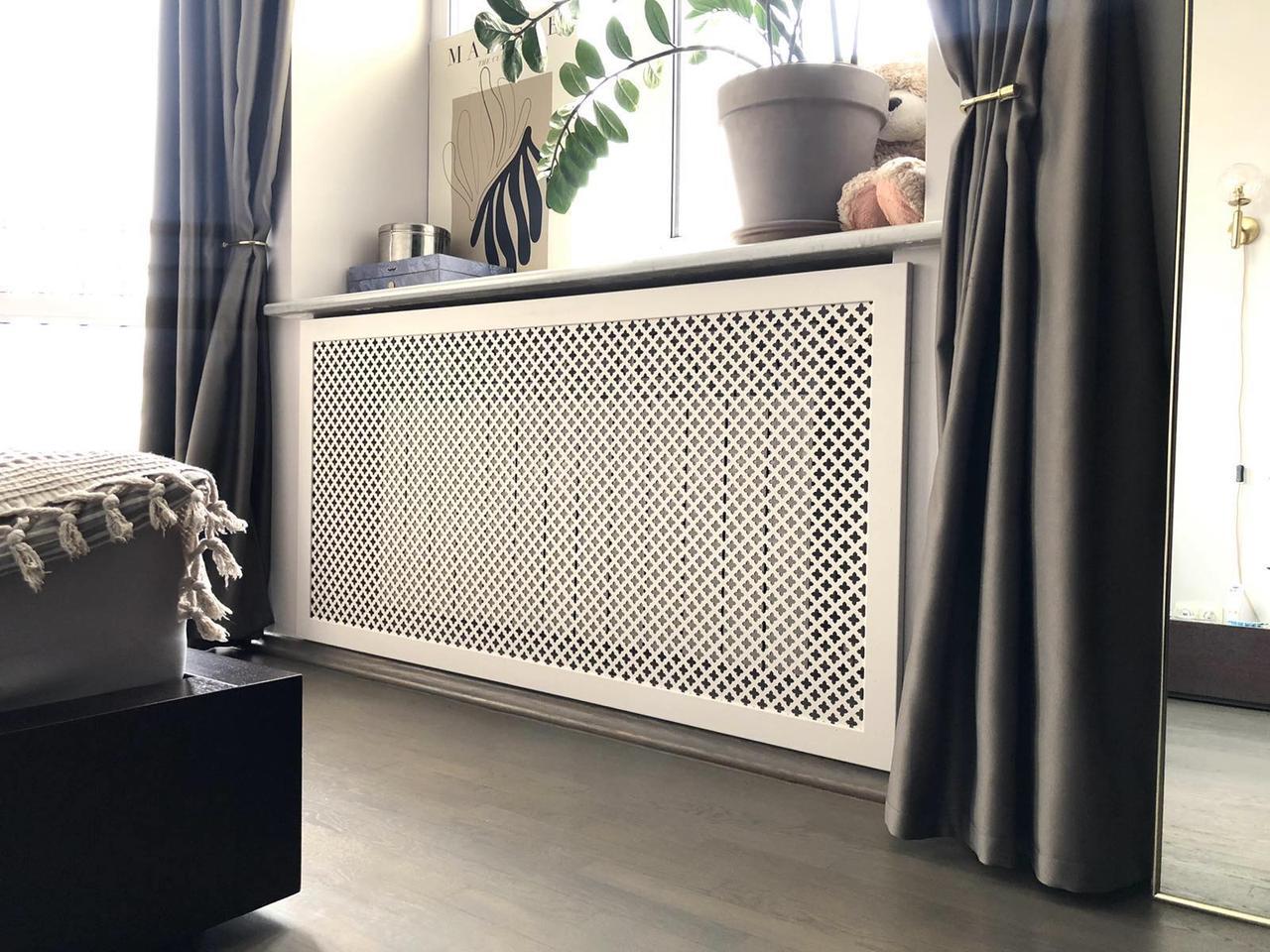 Решетка на батарею отопления по индивидуальным размерам | Экран для батареи, цвет белый Роял, Белый