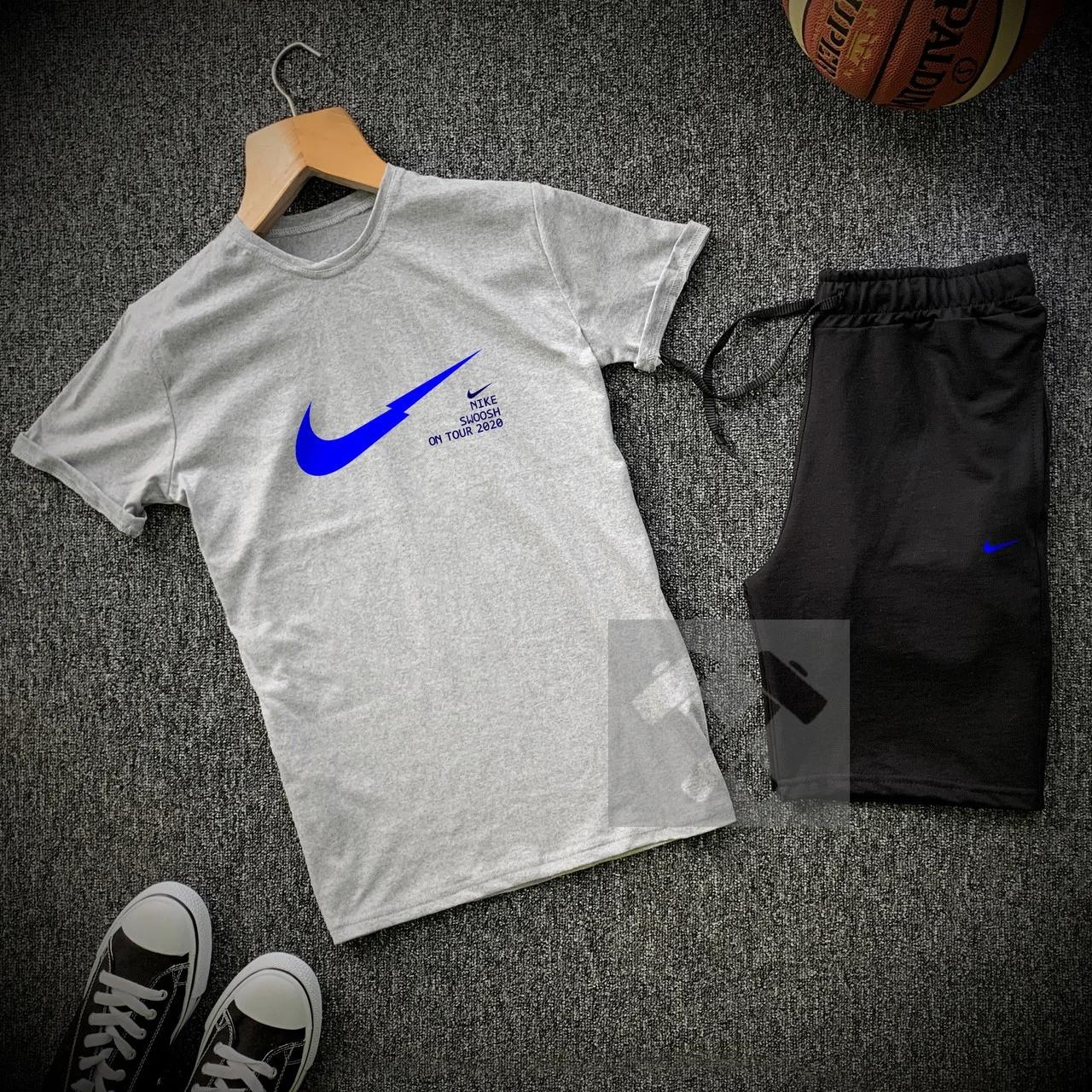 Футболка и шорты Nike серого и черного цвета
