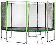 Батут Atleto 490 см. с двойными ногами и защитной сеткой и лестничкой зелёный