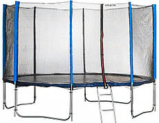 Батут Atleto 490 см. двойные ножки с защитной сеткой и лестничкой