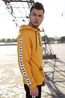 Желтое мужское худи Adidas с лампассами