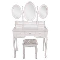 Туалетный столик Bonro- B020 белого цвета с зеркалом и стульчиком