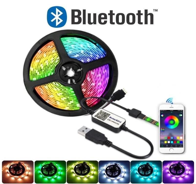 Светодиодная лента 5050 RGB 5м от usb 5V с Bluetooth  (управление через телефон)