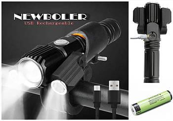 Велосипедный фонарь+ZOOM+Panasonic 3400mAh NEWBOLER (1800LM,XML T6*3, Micro USB, Поворотное крепление,1*18650)