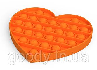 Cенсорна іграшка -антистрес (пухирці, поп) Pop It Fidget (помаранчеве серце)
