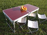 Стол для пикника складной чемодан туристический с 4 стульями отверствием в столешнице для зонта folding table.